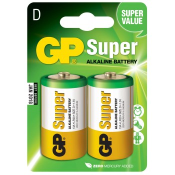 Pilha Super Alcalina D em Blister de 2pcs – 13A-C2 - GP Batteries