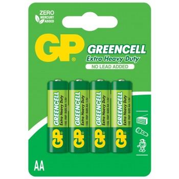 Pilha Greencell Zinco Carvão AA em Blister de 4pcs – 15G-C4 – GP Batteries