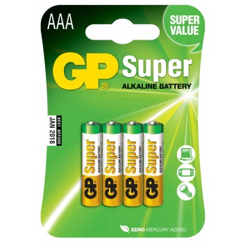Pilha Super Alcalina AAA em Blister de 4pcs - 24A-C4 - GP Batteries