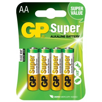 Pilha Super Alcalina AA em Blister de 4pcs - 15A-C4 - GP Batteries