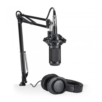 Kit Audio-Technica AT2035PK Microfone AT2035 + Fone ATH-M20X + Suporte Ajustável
