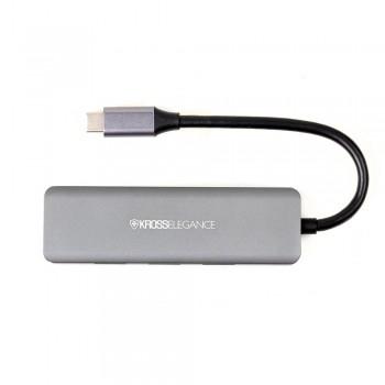 HUB Kross USB-C 7 em 1 (2 x USB 3.0 + HDMI + Áudio 3,5mm + Leitor SD/TF + USB-C Energizada PD) KE-UC4203
