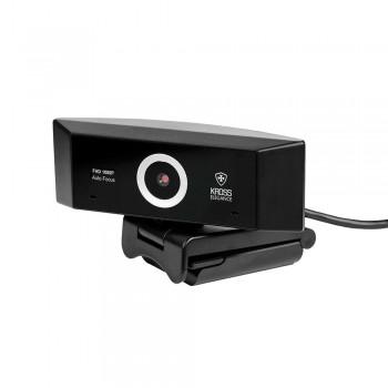Webcam Kross Full HD 1080P Foco Automático com tripé ajustável KE-WBA1080P