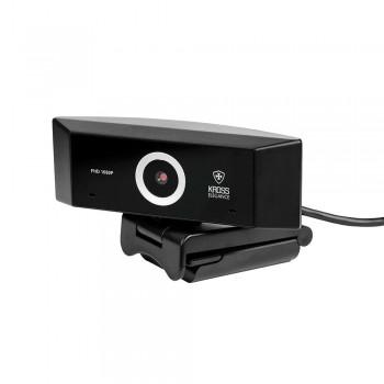 Webcam Kross Full HD 1080P Foco Pré-fixado com tripé ajustável KE-WBM1080P