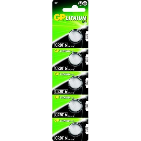 Bateria Lithium Tipo Moeda 3V 90mAh em Cartela Destacável com 5pcs - CR2016-C5 - GP Batteries